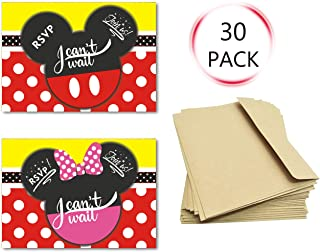 30Pcs Invitations Cards with Envelopes for Kids Birthday Baby Shower Mickey and Minnie Theme Party Supplies