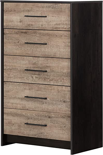 South Shore 12228 Londen Weathered Oak And Ebony 5 Drawer Chest