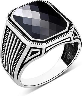 خواتم فضية سوليتير للرجال 925 من chiModa بتصميم مخطط بحجر زركونيا مكعب أسود