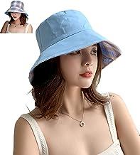 Womens Cotton Sun Hat Summer Bucket Cap Packable Beach Hat Reversible UPF50 Packable