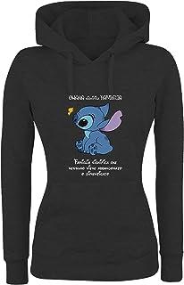 Lilo /& Stitch Disney Felpa con Cappuccio e Cappuccio in Cotone Blu