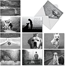 10 Assorted Canine Comment Thank You Greeting Cards with Envelopes - 'Canine Comments' Thank You Cards with Black and White Animal Image and Inspirational Quote 4 x 5.12 inch M1623TY