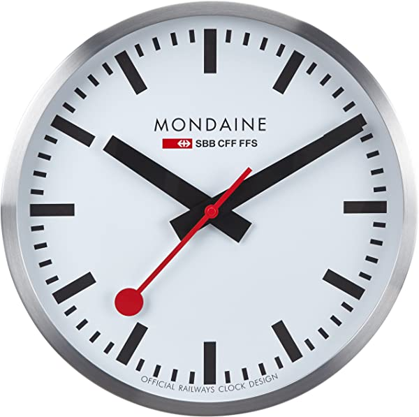 Mondaine 40厘米挂钟白色表盘银色表壳防尘