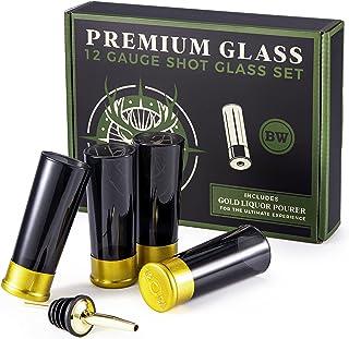 BarrelWare Premium Glass | 12 Gauge Shot Glasses, Bullet Shot Glass, Bullet Glass, Groomsmen Shot Glasses | Shot Glass Se...