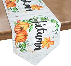 Alishomtll Autumn Table Runner, Pumpkin and Maple Leaves Wreath on Wooden Board Table Runner for Thanksgiving, Fall, Cater...