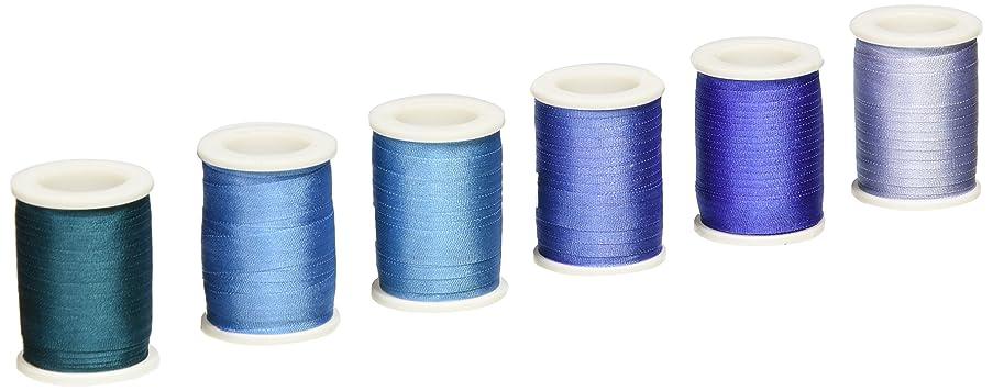 New 7mm Size ThreadNanny 6 Spools of 100% Pure Silk Ribbons - Blue Tones - 60 mts x 7mm