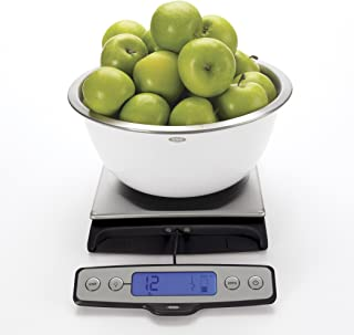 OXO 1128380 Good Grips Stainless Steel Food Scale with Pull Out Display, 22 Pound, Silver/Black