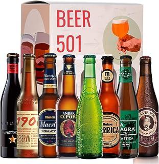 Pack de cervezas degustación BEER 501 - Caja Cerveza Premium España: Inedit, Mahou, Alhambra, La Virgen, La Sagra, Ambar, Estrella galicia1906. I Mejores cervezas españolas para regalar y disfrutar.