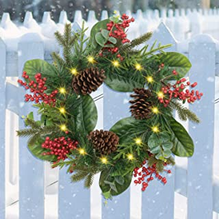 Rocinha Lighted Christmas Front Door Wreath, 22 Inches Battery Operated Prelit Christmas Wreath with Red Berry, Pine Cone - Ideal Christmas Decor for Winter Holiday New Year, Indoor Outdoor Used