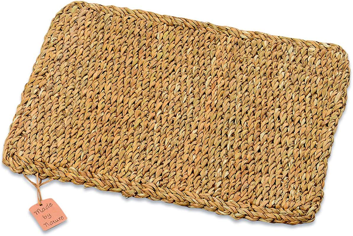 WHW Whole House Worlds Made By Nature Rectangular Woven Seagrass Placemats Set Of 4 Chunky Weave 16 1 8 Inches L Sustainably Harvested Natural Sea Grass