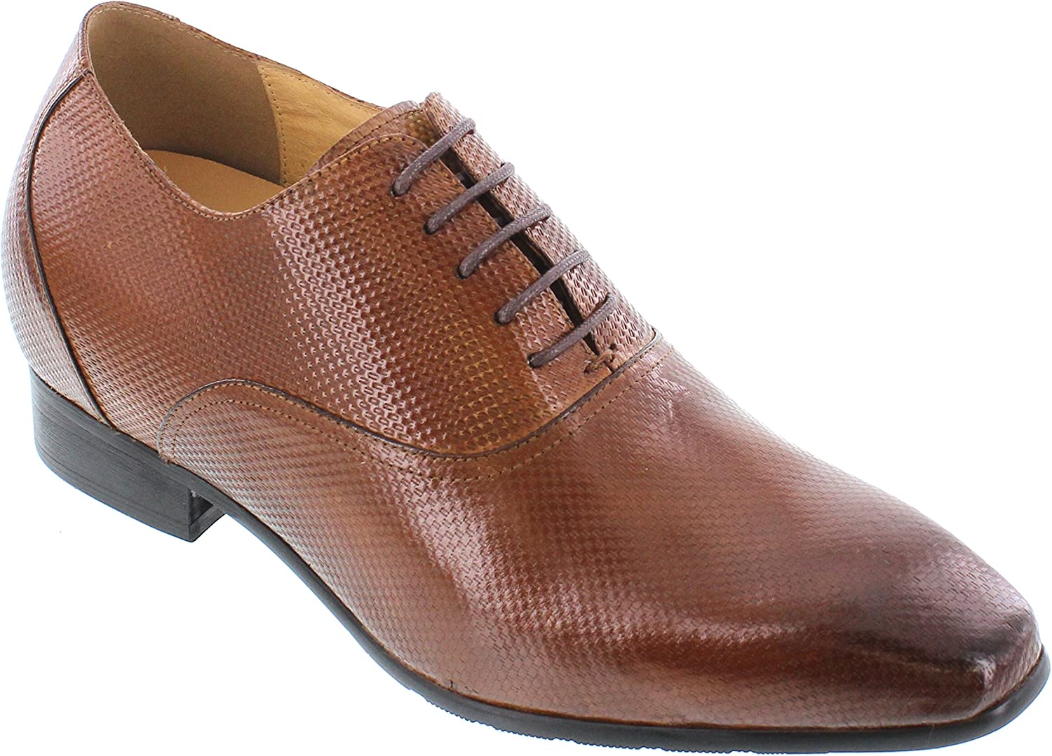 CALTO Men's Invisible Height Increasing Elevator Shoes - Brown Premium Leather Lace-up Formal Oxfords - 3 Inches Taller - Y4022