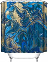 Dimaka Watercolor Ruffle Print Shower Curtain,Bathroom Decoration Design Decor, Water Resistant Fabric Blue Shower Curtains [Art Painting] Home Textile (71