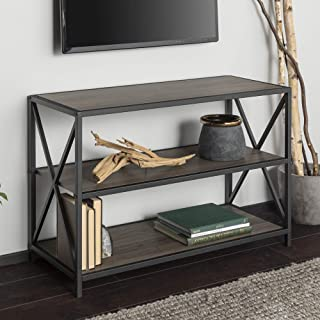 WE Furniture 2 Shelf Industrial Wood Metal Bookcase Bookshelf Storage, 40