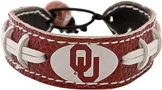 NCAA Oklahoma Sooners Team Color Leather Football Bracelet