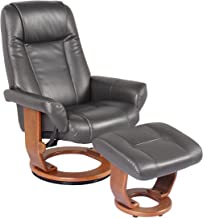 Starline Windsor Soft Touch Synthetic Leather Swivel Chair Recliner & Ottoman Lounger by Jerry Sales (Charcoal)