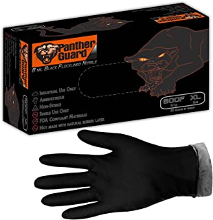 Panther-Guard Heavy Duty 8 Mil Black Flock Lined Industrial Nitrile Gloves (1, Large)
