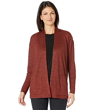 Eileen Fisher Organic Linen Delave High Collar Cardigan (Deep Terracotta) Women