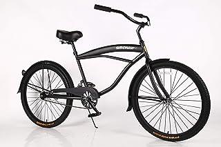 Bicicleta de playa para mujer Cruiser Bike Coral, marco de acero de 26 pulgadas, de una sola velocidad, con frenos y ruedas anchas, sillín ancho acolchado y empuñaduras suaves, con suspensión