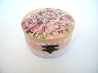 Cajita de madera Joyero floral, elegante Caja de almacenamiento para mujer, caja redonda con rosas