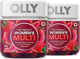 OLLY Women's Multivitamin Gummy, Vitamins A, D, C, E, Biotin, Folic Acid, Chewable Supplement, Berry Flavor, 90-Day Supply...