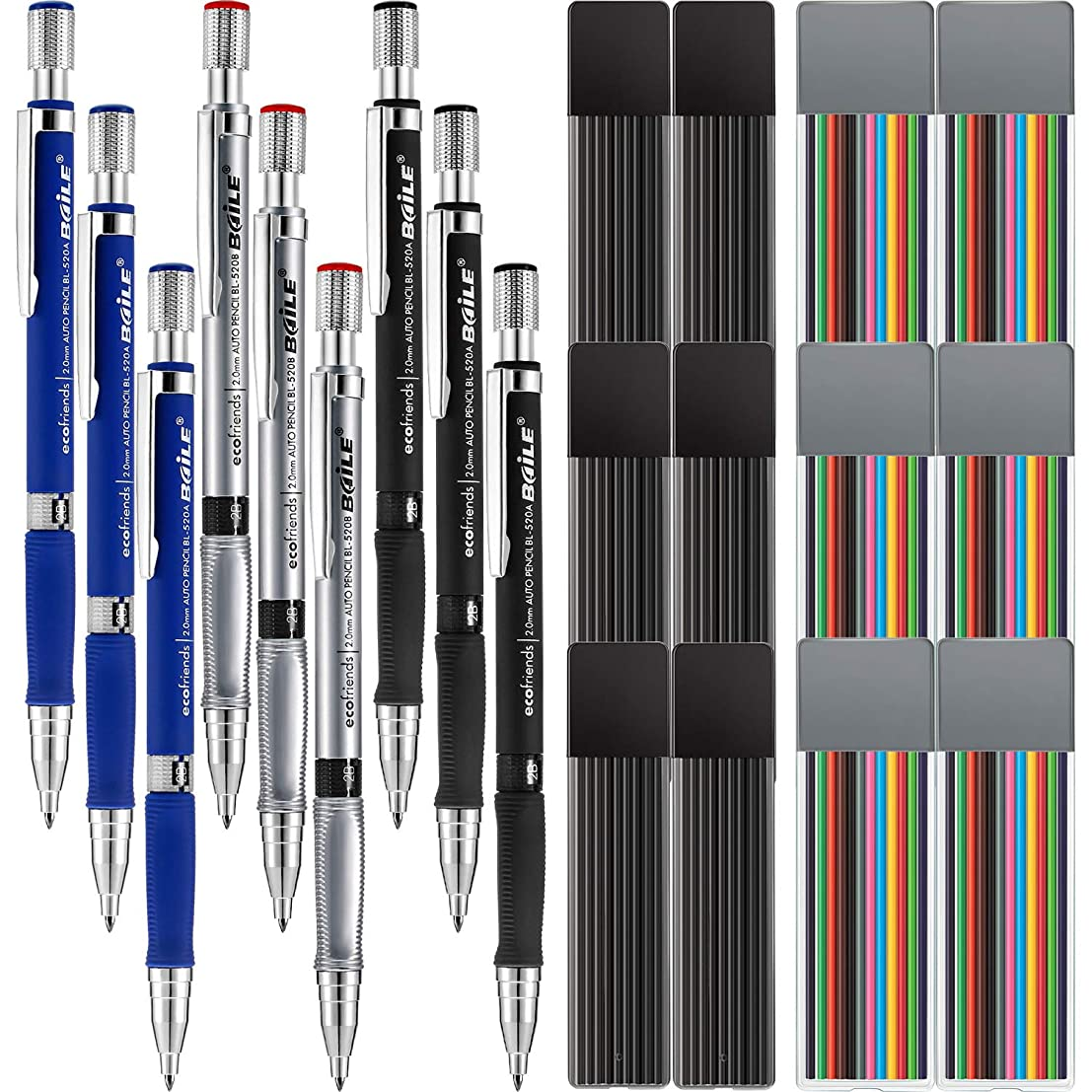 Jovitec 21 Pieces 2.0 mm Mechanical Pencil Set, 9 Pieces Automatic Pencils and 12 Cases Lead Refills (Color and Black) for Draft Drawing, Writing, Crafting, Art Sketching