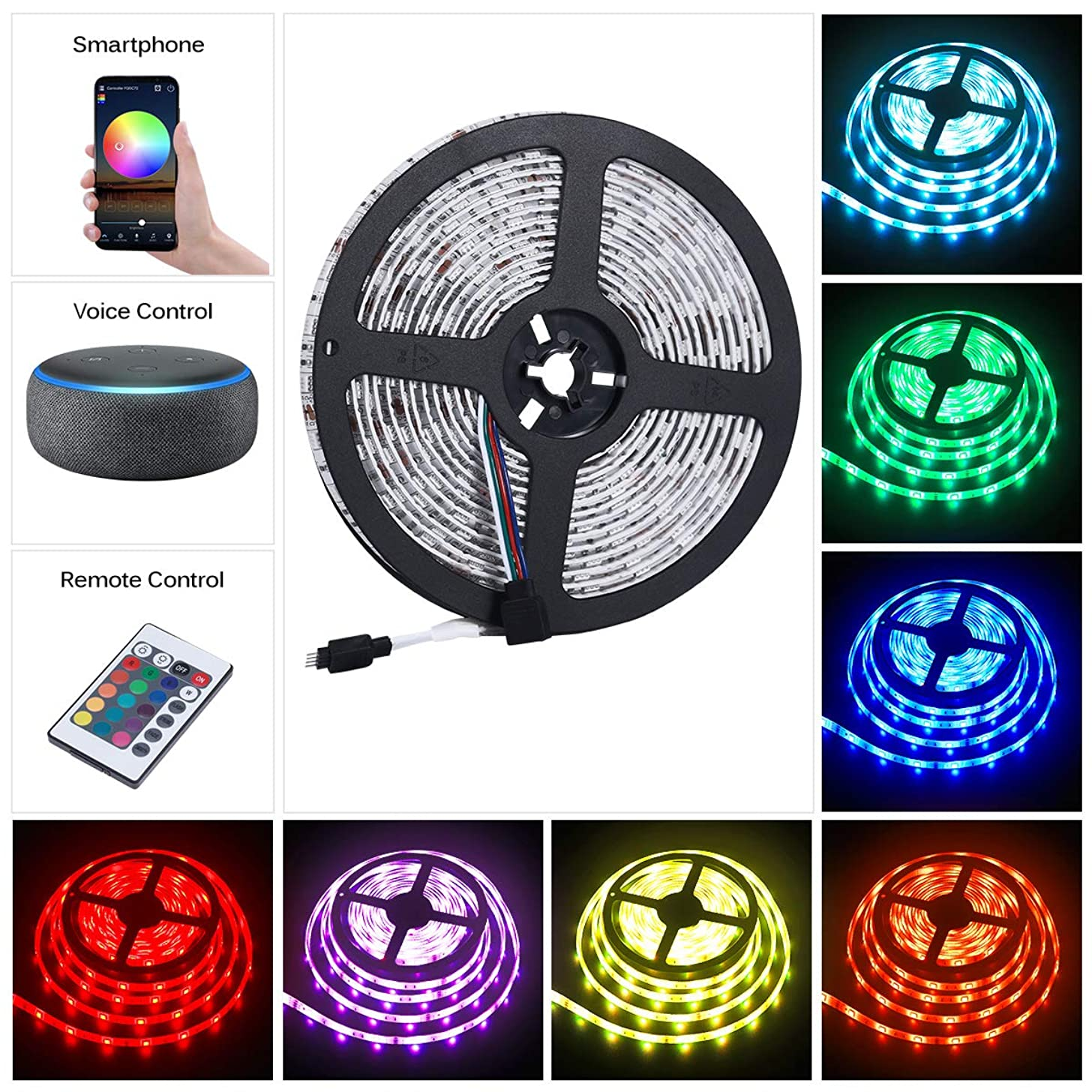 YUNLIGHTS LED Strip Lights, WiFi Wireless Smart Phone Controlled Light Strip IP65 Waterproof, 16.4ft Flexible Color Changing RGB LED Strips with IR Remote Controller 12V 5A Power Supply
