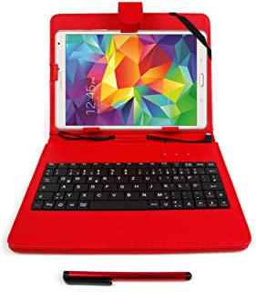 DURAGADGET Red Faux Leather Case Cover with Micro USB German Keyboard for Samsung Galaxy Note 8.0 / Galaxy Tab Pro 8.4 (Requires OTG Adapter - NOT Included)