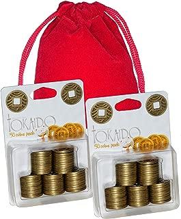 Tokaido Japanese Motif Metal Coins _ 2 Packs _ Total of 100 Coins _ Bonus Red Velveteen Storage Pouch _Bundled Items