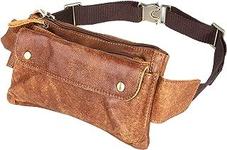 Loyofun Unisex Brown Genuine Leather Waist Bag Messenger Fanny Pack Bum Bag for Men Women Travel Sports Running Hiking