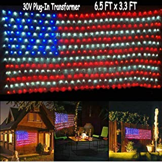 Jxystore American Flag Net Lights 6.5FT x 3.3FT 390LEDs String Lights Large US Flag Outdoor Indoor Lights Waterproof 30V Transformer Plug for Independence Day Festival Party Christmas Decorations