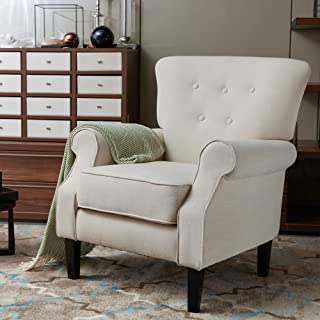 LOKATSE HOME Accent Arm Chair Mid Century Upholstered Single Sofa Modern Comfortable Furniture Pine Wood legs for Living Room, Club, Bedroom, Beige