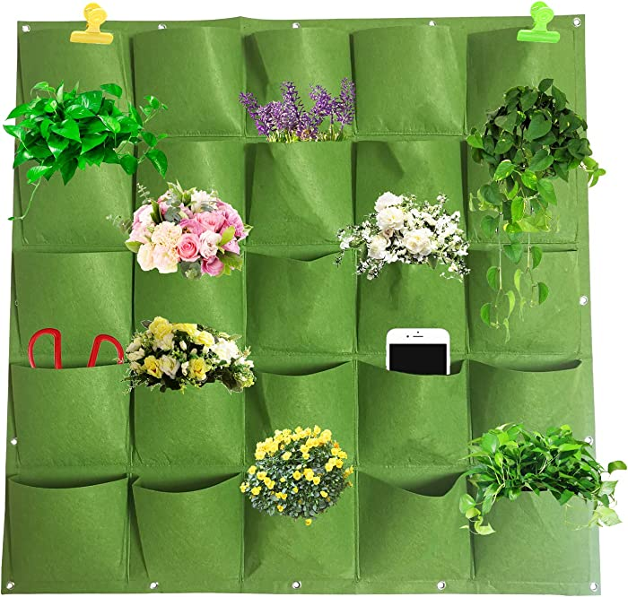DSDecor 25 Pockets Vertical Wall Hanging Planters Fabric Planting Bags Wall Mount Flower Plant Grow Bags for Indoor Outdoor Garden Yard Decorations (40
