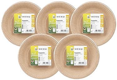 Heku : 100 organic paper plates, be green, round, diameter 23 cm, fresh fibre, FSC-certified.