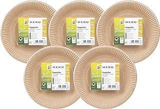 HEKU 30963: 100 platos de papel ecológico, redondos, diámetro de 23 cm, fibra fresca, certificado FSC.