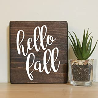 """Hello Fall Small Rustic Wooden Sign 5""""X5"""""""