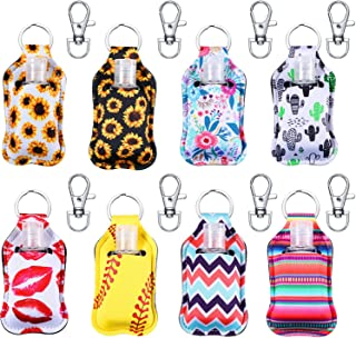24 Pieces 8 Sets Bottle Keychain Holders Include Neoprene Keychain Holder Key Ring Clips and 30 ml Empty Travel Size Bottl...