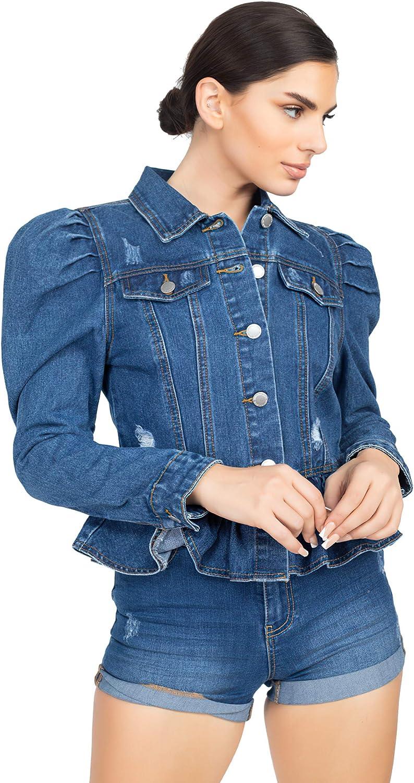 Women's Juniors Premium Denim Peplum Bodice Long Puff Sleeve Jacket
