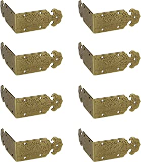 RZDEAL 8pcs 2.0'' x 0.8'' Embossing Brass Box Corner Protectors Antique Hardware Desk Edge Guards Right Angle Wood Jewelry Box Photo Frame Accessories