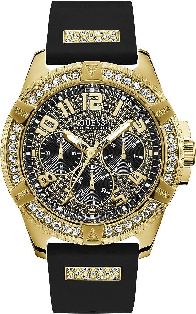 Guess , orologio cronografo da uomo,con cassa in acciaio lucido ip gold con cristalli e cinturino in silicone W1132G1