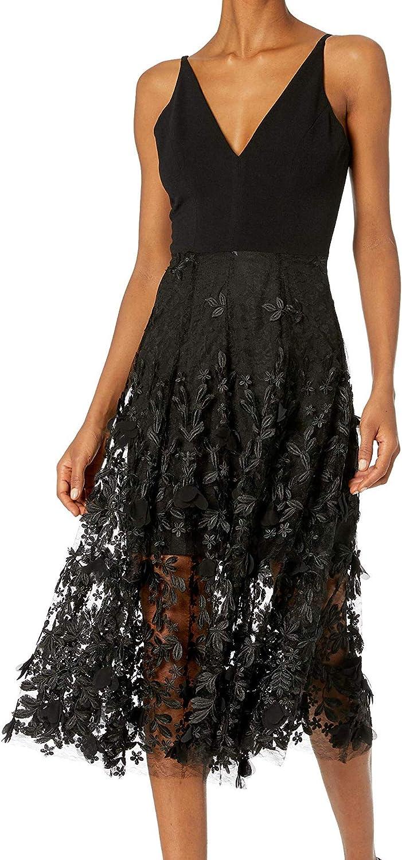 Dress the Population Women's Darleen Sleeveless 3D Floral Fit & Flare Midi Dress
