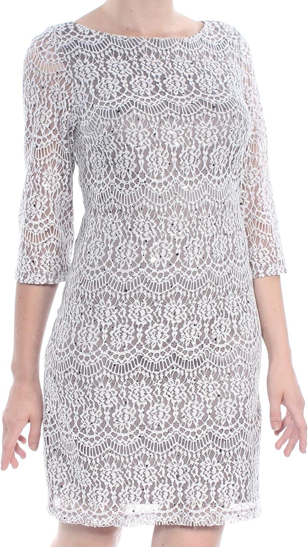 Jessica Howard Women's 3/4 Sleeve Lace Shift Dress