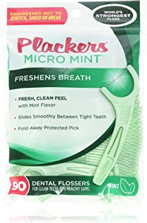 PLACKERS Micro Mint Freshens Breath, Dental Flossers Mint 90 Each (Pack of 4) - Packaging may vary