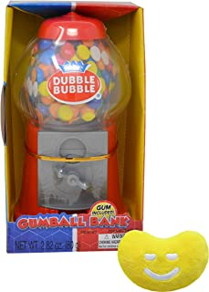 Classic Dubble Bubble 8.5 Inch Gumball Machine with Coin Bank By The Cup Pack with Dubble Bubble Gumballs and Jelly Belly Mini Emoji Plush (With Box)