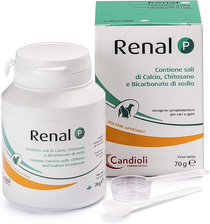 Integratore cani  sali di calcio, chitosano e bicarbonato candioli farmaceutici - renal p, polvere ,70 gr PA1868