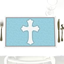 Little Miracle Boy Blue & Gray Cross - Party Table Decorations - Baptism or Baby Shower Placemats - Set of 12
