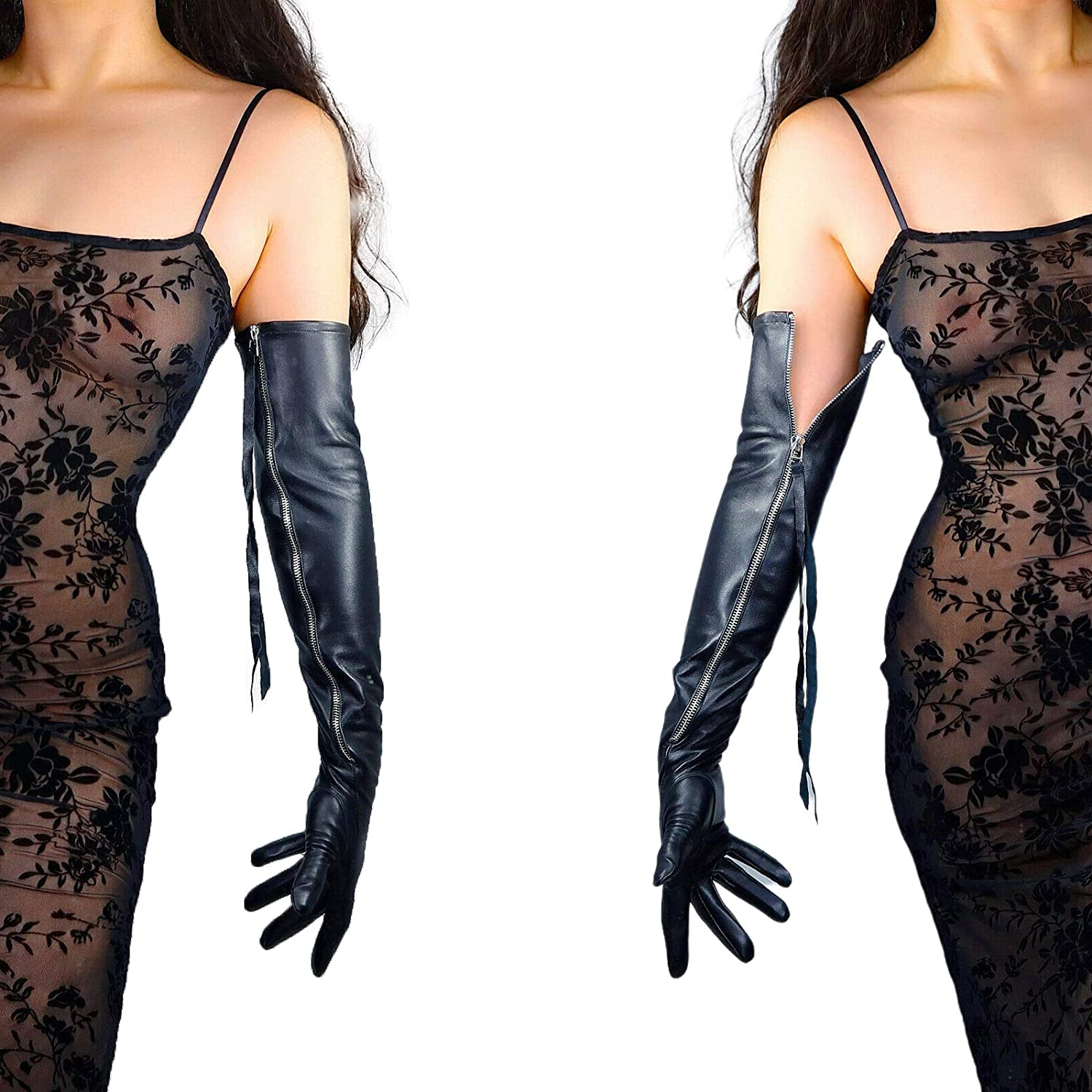 DooWay Opera Leather Gloves for Women Full Long Zipper Sleeves Fashion Comfy Costume Pageant Event PU 24 inches