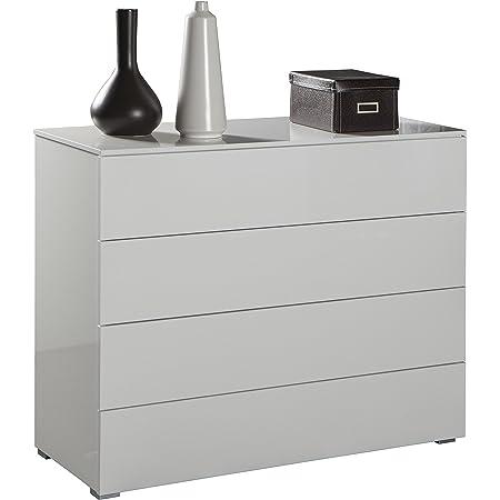 Composad CT7166K30404 Ampio comò Laccato, Legno, High Gloss White, 44x108x85 cm