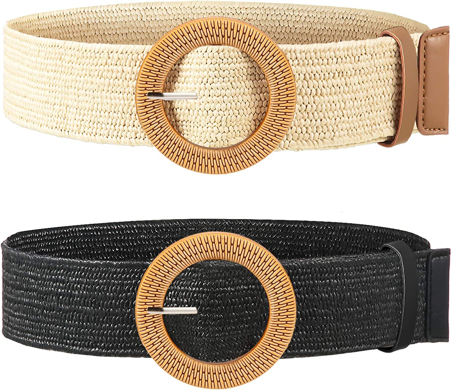 2 Pieces specialty shop Women Straw Limited price Woven Elastic Belt Waist Skinny Dre Stretch