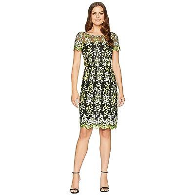 Tahari by ASL Embroidered Mesh Short Sleeve Sheath Dress (Black/Lemon/Green) Women
