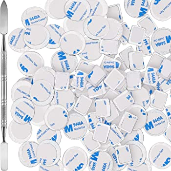 Sumind 101 Pieces Metal Stickers for Eyeshadow Palette Set, Includes 1 Makeup Depotting Tool, 50 Pieces Square Adhesive Empty Palette Metal Stickers and 50 Pieces Round Makeup Colorful Palette Sticker